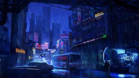 futuristic city dark evening rain  laptop hd hd