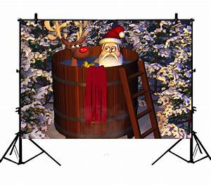 Ykcg, 7x5ft, Santa, Claus, With, Deer, Have, A, Shower, Funny, Christmas, White, Trees, Photography, Backdrops
