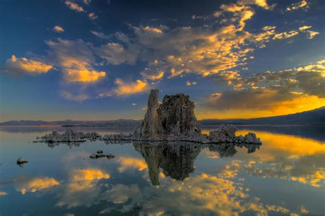 Lake, Clouds, Reflection, Ice, Nature, Sunset Wallpapers