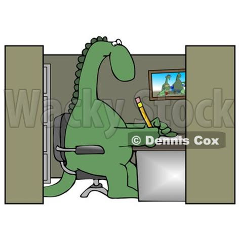 green dinosaur sitting in a chair at a desk in an employee