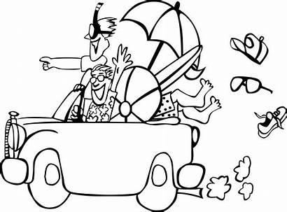 Summer Beach Clipart Coloring Trip Line Pages