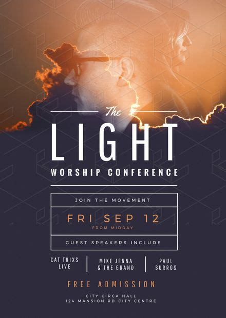light worship conference church flyer template