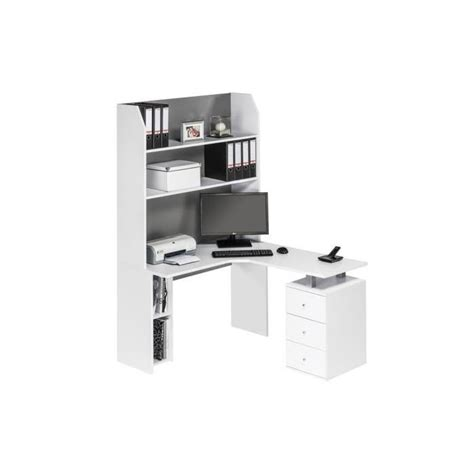 bureau angle avec rangement bureau d 39 angle contemporain avec rangement coloris blanc