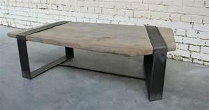 Table Basse Bois Metal : table basse sf 39 tb008 giani desmet meubles indus bois m tal et cuir ~ Teatrodelosmanantiales.com Idées de Décoration