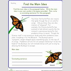 Find The Main Idea Viceroy Butterfly  Worksheet Educationcom