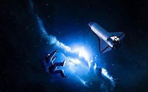 space, Space Shuttle, Space Art, Nebula, Blue, Stars ...