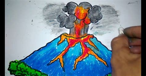 mewarnai gambar gunung meletus anak tk gambar mewarnai