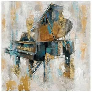 tableau piano 100x100 dore peinture acrylique et feuilles With peindre du metal deja peint