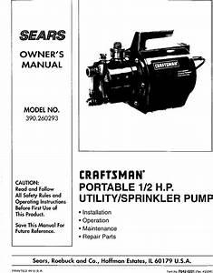 Craftsman 390260293 User Manual Pump Manuals And Guides