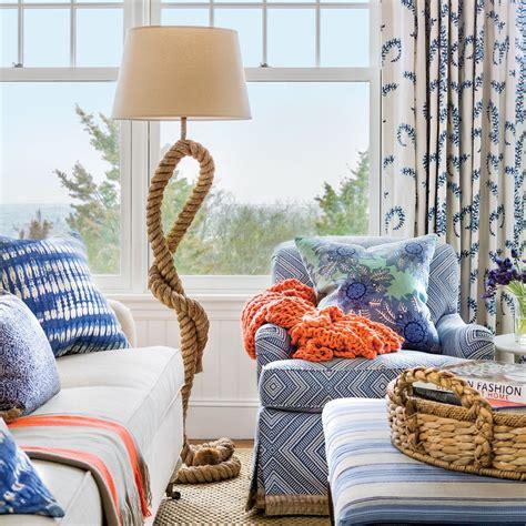 blue and white house decorating coastal living