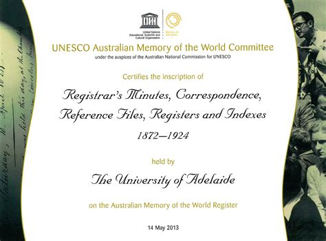university archives listed  unescos australian memory