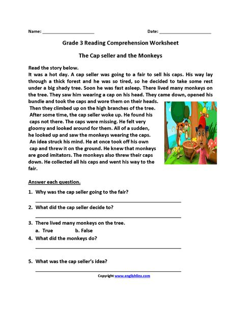 worksheets reading comprehension worksheets for 3rd grade