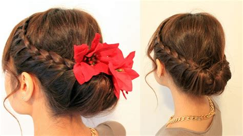 holiday braided updo hairstyle  medium long hair