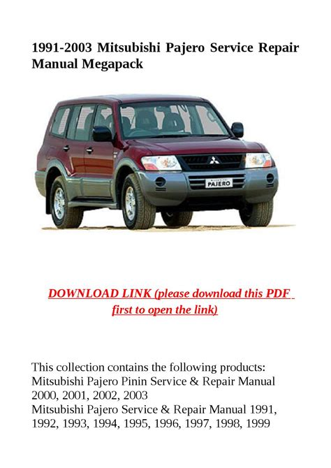 how to download repair manuals 1991 mitsubishi pajero electronic toll collection 1991 2003 mitsubishi pajero service repair manual megapack by herrg issuu