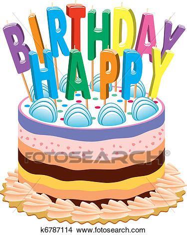 torta clipart torta compleanno con candele clipart k6787114 fotosearch