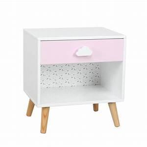 Table Chevet Blanc : table de chevet enfant sweety 40cm blanc rose ~ Teatrodelosmanantiales.com Idées de Décoration