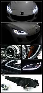 Mazdaspeed 3 Custom Lights 10 13 Mazda 3 Black Clear Lens Halo Angel Eye Projector