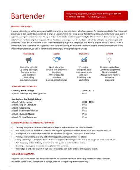 bartender resume 8 free sle exle format free