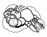 Lobster Coloring Vegetables Steak Coloringcrew Template sketch template