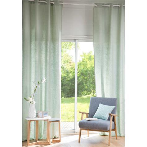 Light Green Drapes - light green washed linen eyelet curtain 130 x 300 cm
