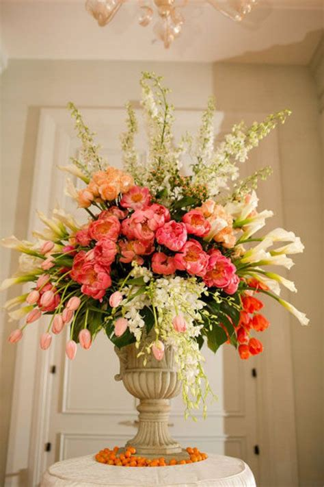 ed libby events garden style urn arrangement of coral