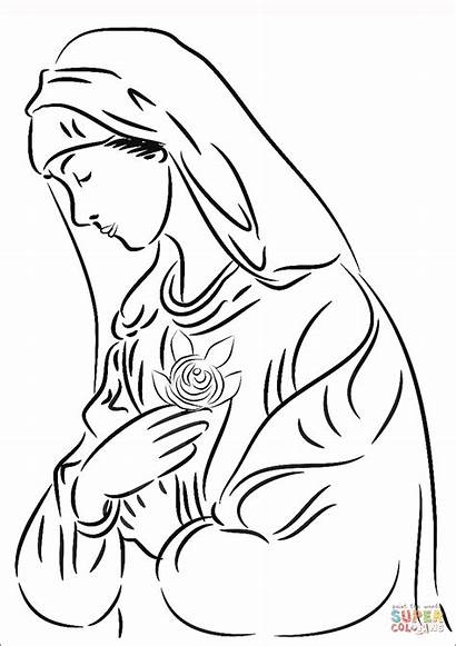 Mary Coloring Virgin Rose Pages Printable Mother