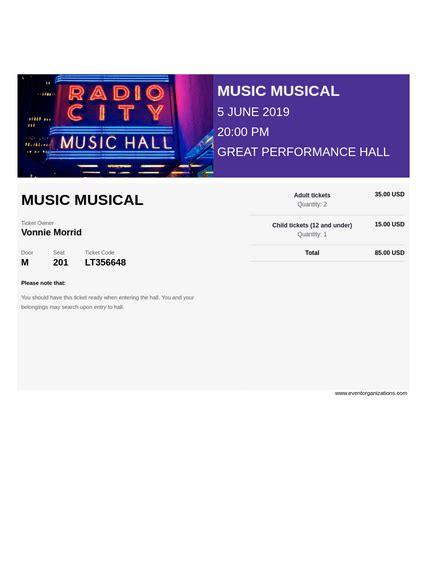 Musical Ticket TemplateTemplates JotForm