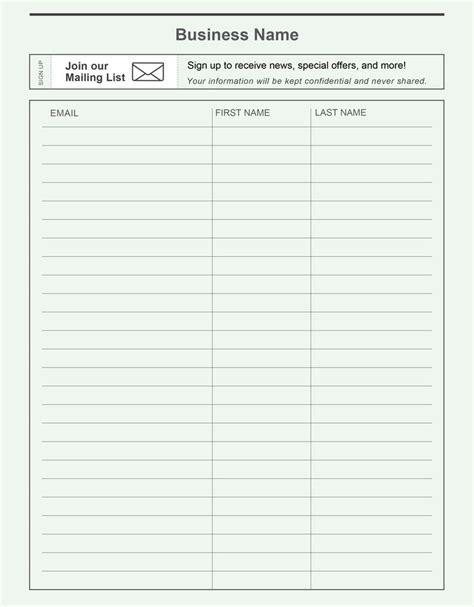 printable email signup sheet    grow