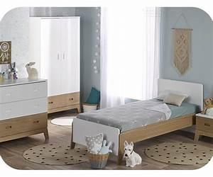 chambre enfant aloa blanche et bois set de 4 meubles With chambre blanche et bois