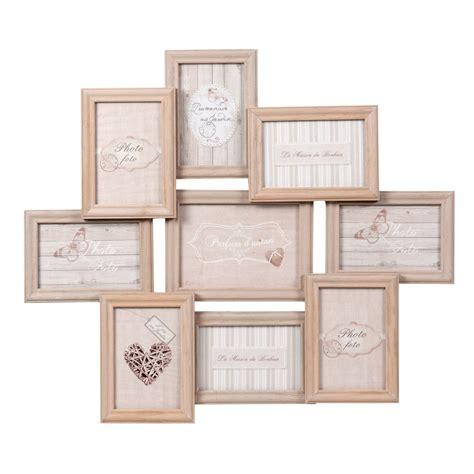 cadre photo 9 vues en bois 52 x 60 cm relief maisons du monde