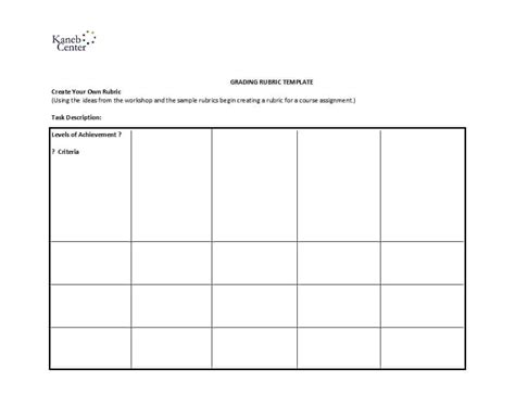 editable rubric templates word format template lab