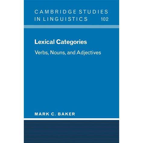 cambridge studies  linguistics lexical categories