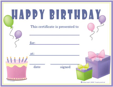birthday girl certificates certificate