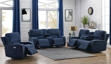 dundee power sofa pp  navy blue  coaster woptions