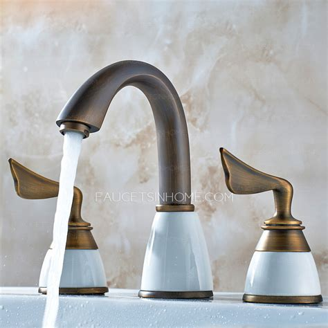antique copper  split set bathroom sink faucet