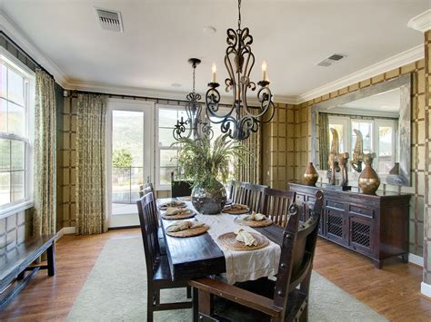 Everyday Kitchen Table Centerpiece Ideas - magnificent mirrored buffet in dining room contemporary with chandelier ideas next to table