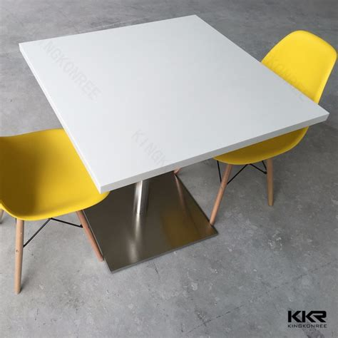 solid surface high glossy canteen table fast food