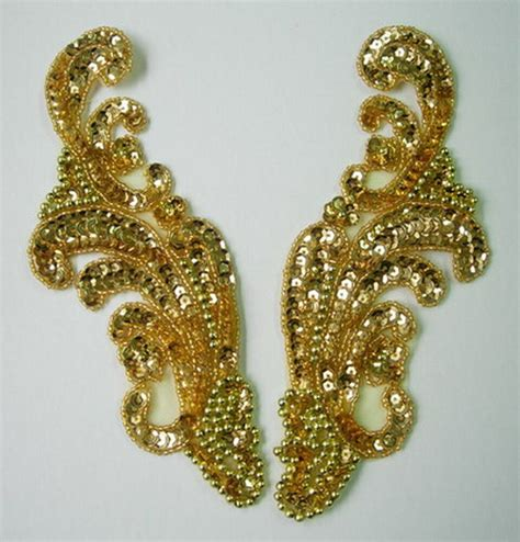 gold applique lr36 mirror pair wave floral sequin beaded applique motif