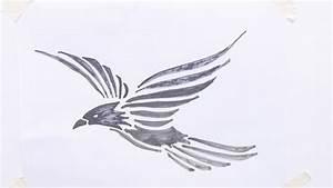 How To Draw Flying Bird Tribal Tattoo Youtube