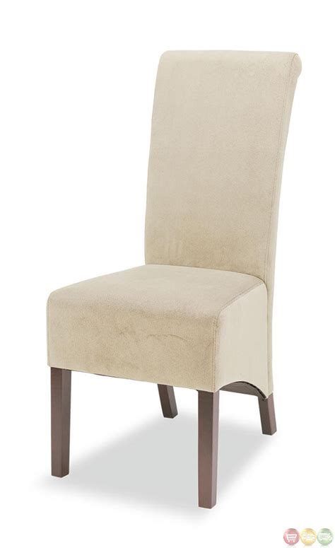 Upholstered Skirted Parsons Chairs Casual Skirted Microfiber Upholstery Set Of 2 Parson Chairs