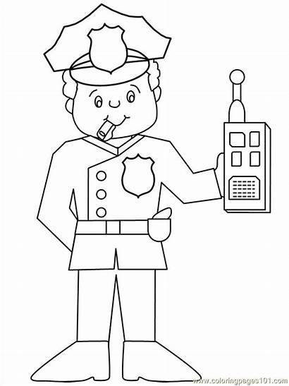 Police Crafts Officer Coloring Printable Pages Preschool