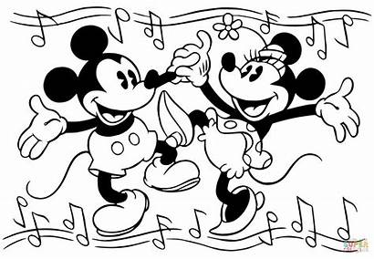 Minnie Mickey Mouse Dancing Coloring Pages Printable