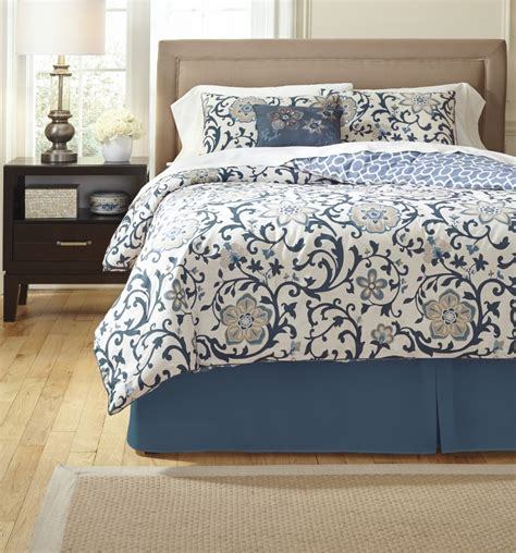 electric floral blue queen comforter set