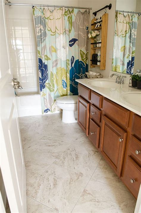 bathroom transformation  vinyl tile  home depot