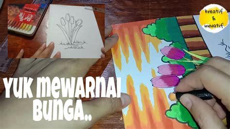 cara mewarnai bunga penambahan gambar dan gradasi warna