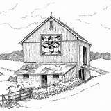 Barn Coloring Pages Farm Appalachian Drawings Barns Patterns Quilt Adult Quilts Drawing Adults Sheets Memories Printable Colouring Printables Star Detailed sketch template