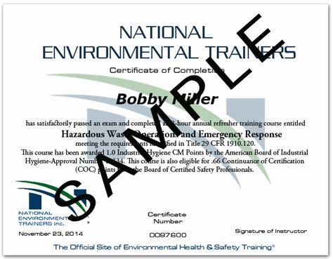 certificates  hazwoper  hour certifications