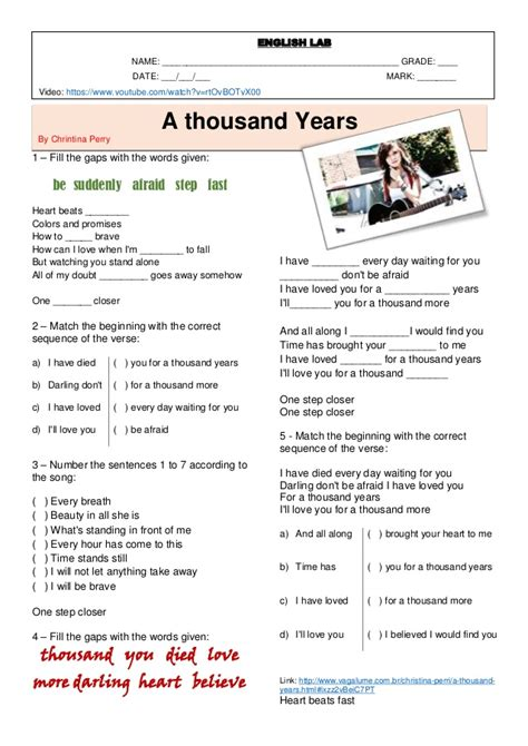 Check The Resume Lyrics by Song A Thousand Years Worksheet