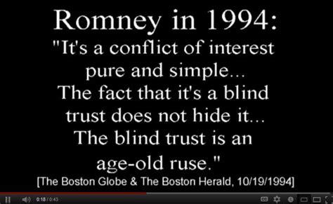 what is blind trust ethics complaint filed against romney malialitman