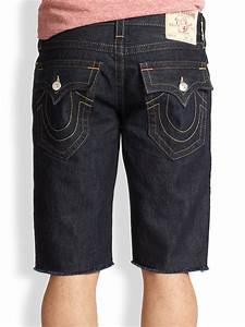 True religion Ricky Cutoff Denim Shorts in Blue for Men | Lyst